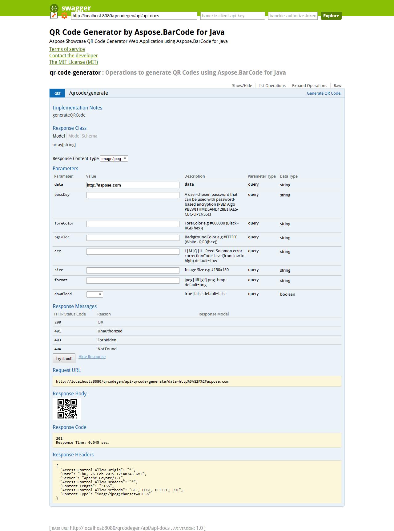 aspose showcase qrcodegen swagger api docs QR Code Generator by Aspose.BarCode for Java