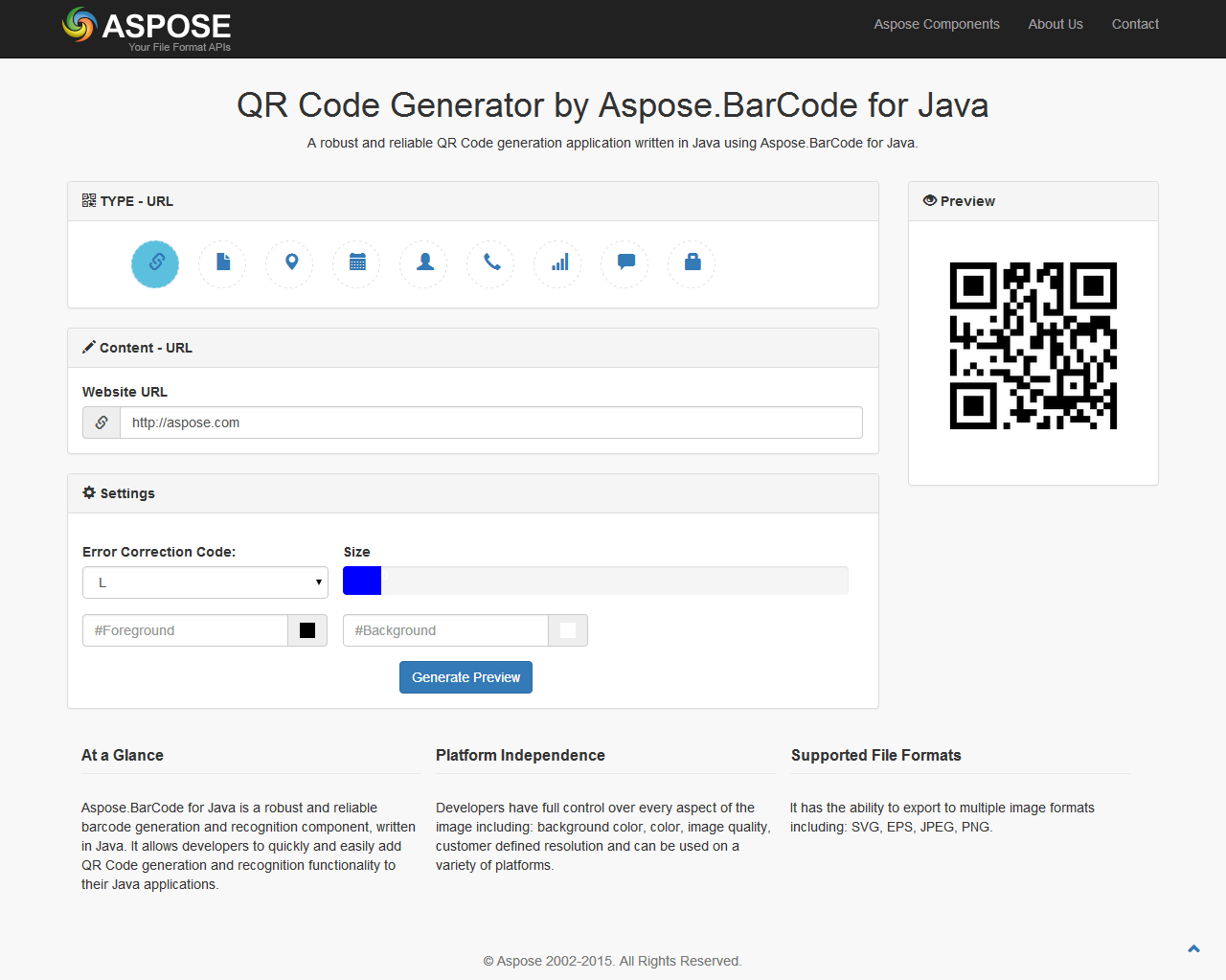 QR Code Generator by Aspose BarCode for Java